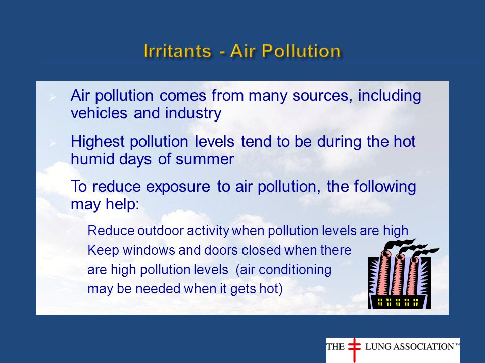  Air pollution comes from many sources, including vehicles and industry  Highest pollution levels tend to be during the hot humid days of summer  T