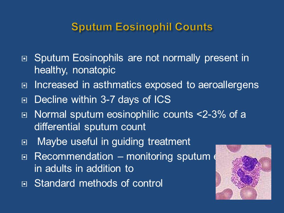  Sputum Eosinophils are not normally present in healthy, nonatopic  Increased in asthmatics exposed to aeroallergens  Decline within 3-7 days of IC