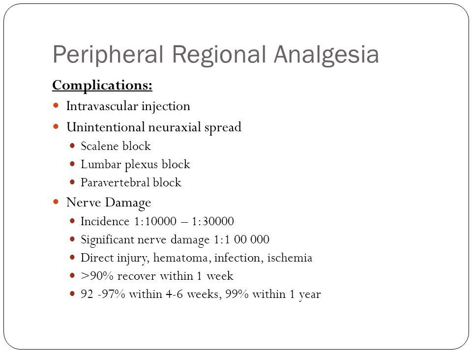 Peripheral Regional Analgesia Complications: Intravascular injection Unintentional neuraxial spread Scalene block Lumbar plexus block Paravertebral bl