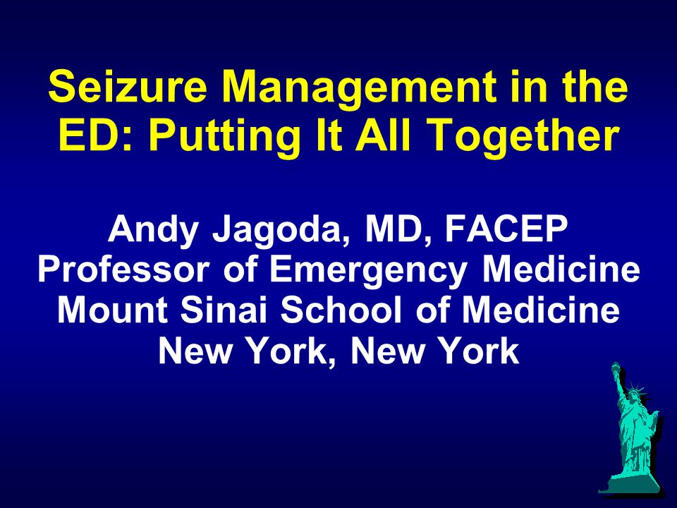 Seizure Management in the ED: Putting It All Together Andy Jagoda, MD, FACEP Professor of Emergency Medicine Mount Sinai School of Medicine New York,