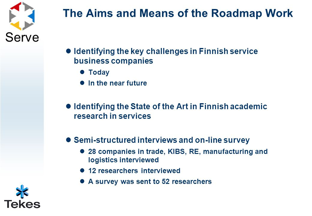 Serve The Aims and Means of the Roadmap Work Identifying the key challenges in Finnish service business companies Today In the near future Identifying the State of the Art in Finnish academic research in services Semi-structured interviews and on-line survey 28 companies in trade, KIBS, RE, manufacturing and logistics interviewed 12 researchers interviewed A survey was sent to 52 researchers