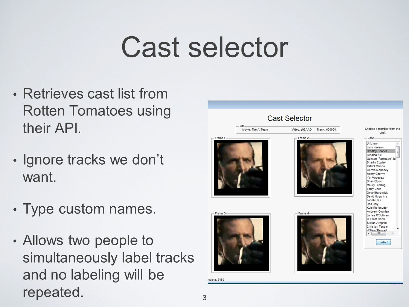 Retrieves cast list from Rotten Tomatoes using their API.