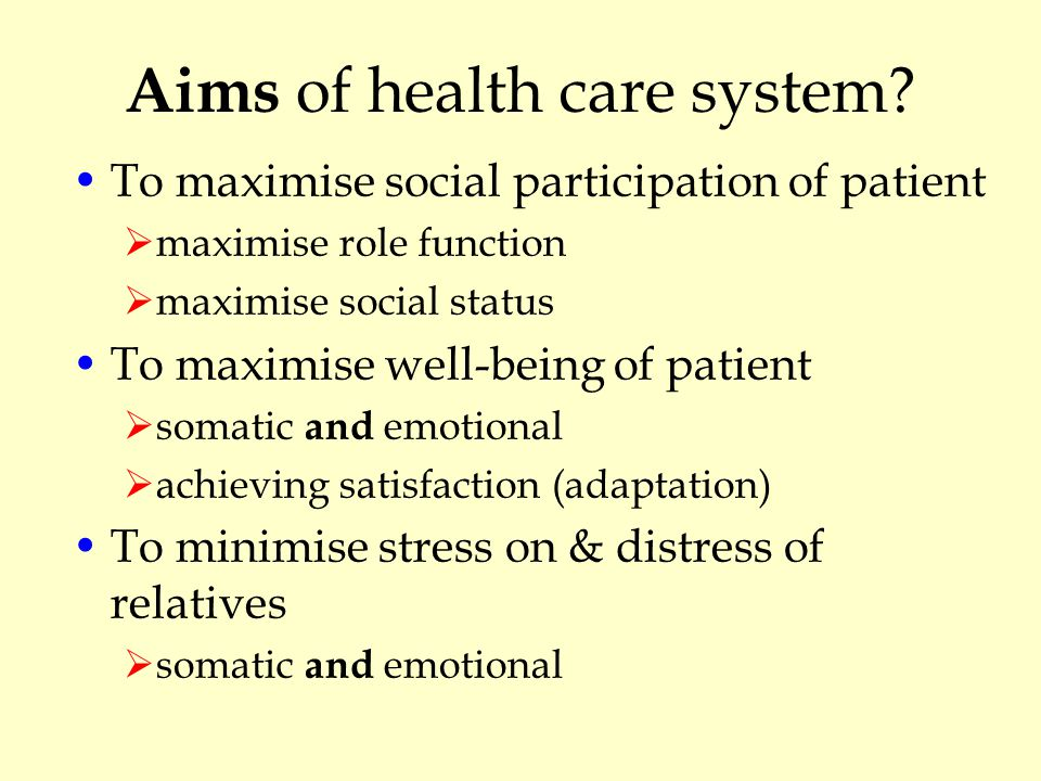 Aims of health care system.