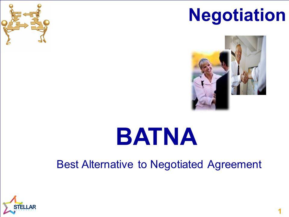 11 BATNA Best Alternative to Negotiated Agreement Negotiation