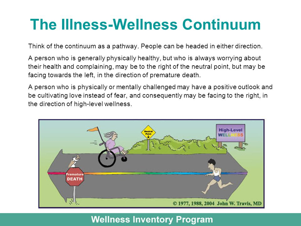 The Illness-Wellness Continuum Think of the continuum as a pathway.