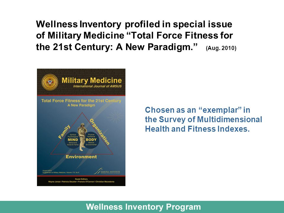 Wellness Inventory profiled in special issue of Military Medicine Total Force Fitness for the 21st Century: A New Paradigm. (Aug.