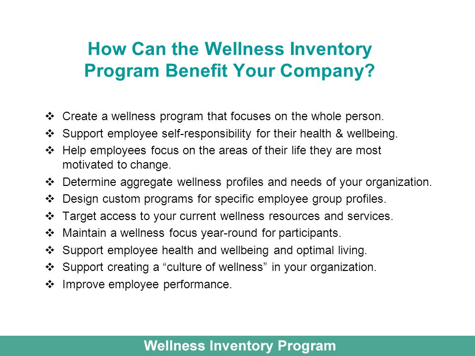 How Can the Wellness Inventory Program Benefit Your Company.