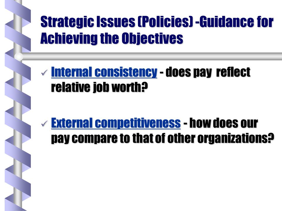 Objectives Efficiency Efficiency - control of costs, high quality, customer driven Equity Equity - fairness of pay, both procedural & outcome Compliance Compliance - obeying governmental regulations regarding compensation