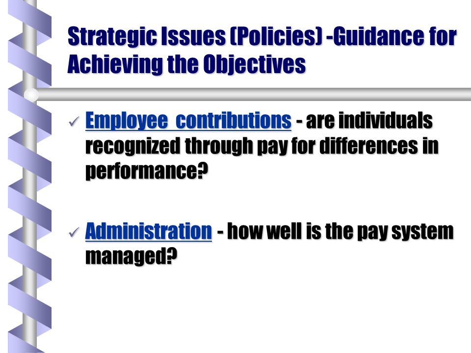 Strategic Issues (Policies) -Guidance for Achieving the Objectives Internal consistency - does pay reflect relative job worth.