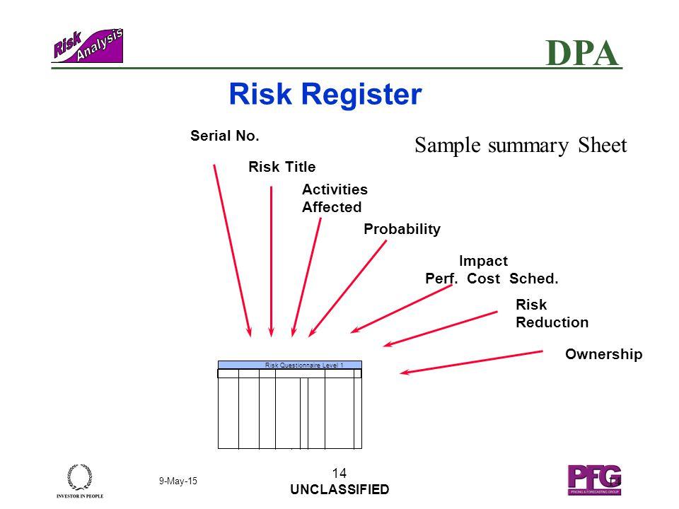 DPA 9-May-15 13 UNCLASSIFIED 13 Quantitative stage  Define the measure of PROBABILITY e.g.