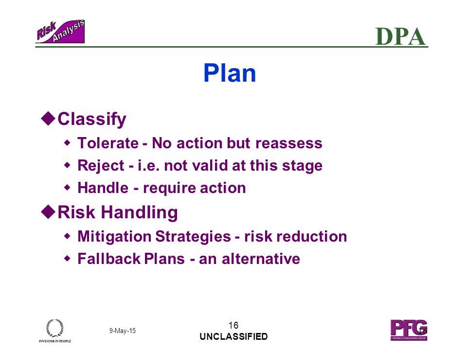 DPA 9-May-15 15 UNCLASSIFIED 15 Plan