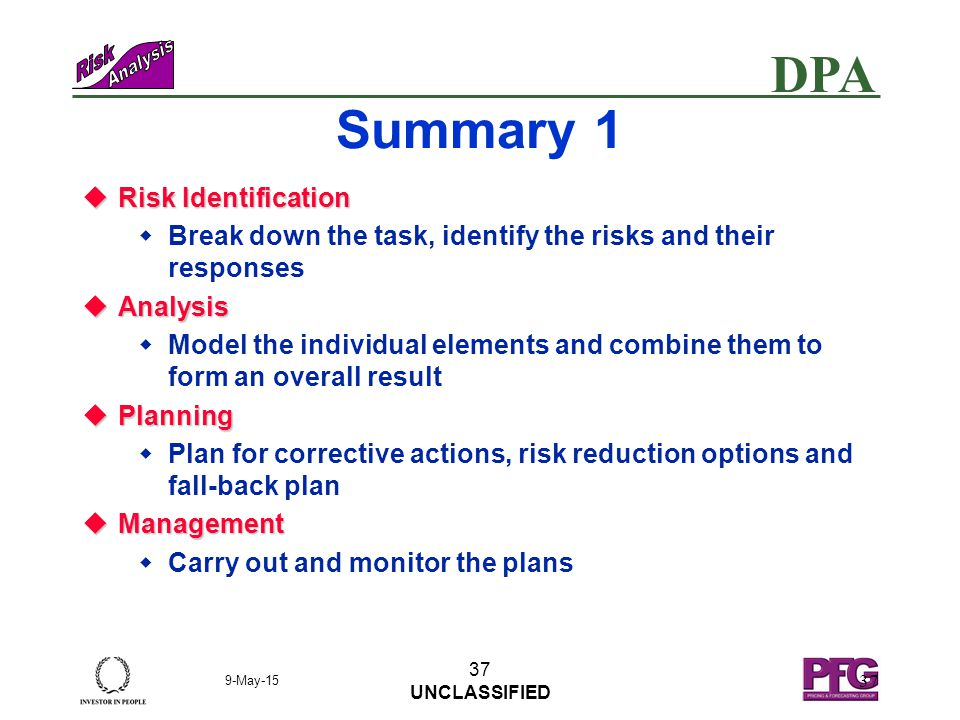 DPA 9-May-15 36 UNCLASSIFIED 36 Schedule Summary l Prioritise Risks High Medium Low HighMediumLow l Quantify Risks l Understand Results l Identify Risks