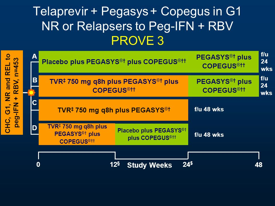 Telaprevir + Pegasys + Copegus in G1 NR or Relapsers to Peg-IFN + RBV PROVE 3 Study Weeks 48 0 Placebo plus PEGASYS ®† plus COPEGUS ®†† TVR ‡ 750 mg q