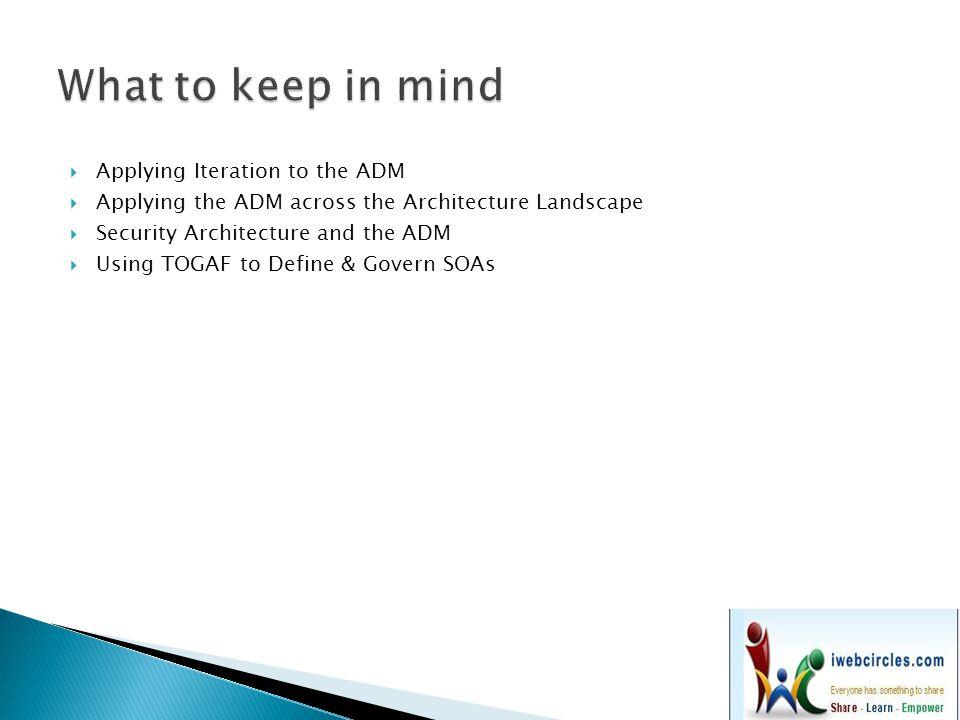  Architecture Principles  Stakeholder Management  Architecture Patterns  Business Scenarios