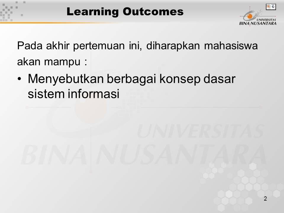 2 Learning Outcomes Pada akhir pertemuan ini, diharapkan mahasiswa akan mampu : Menyebutkan berbagai konsep dasar sistem informasi