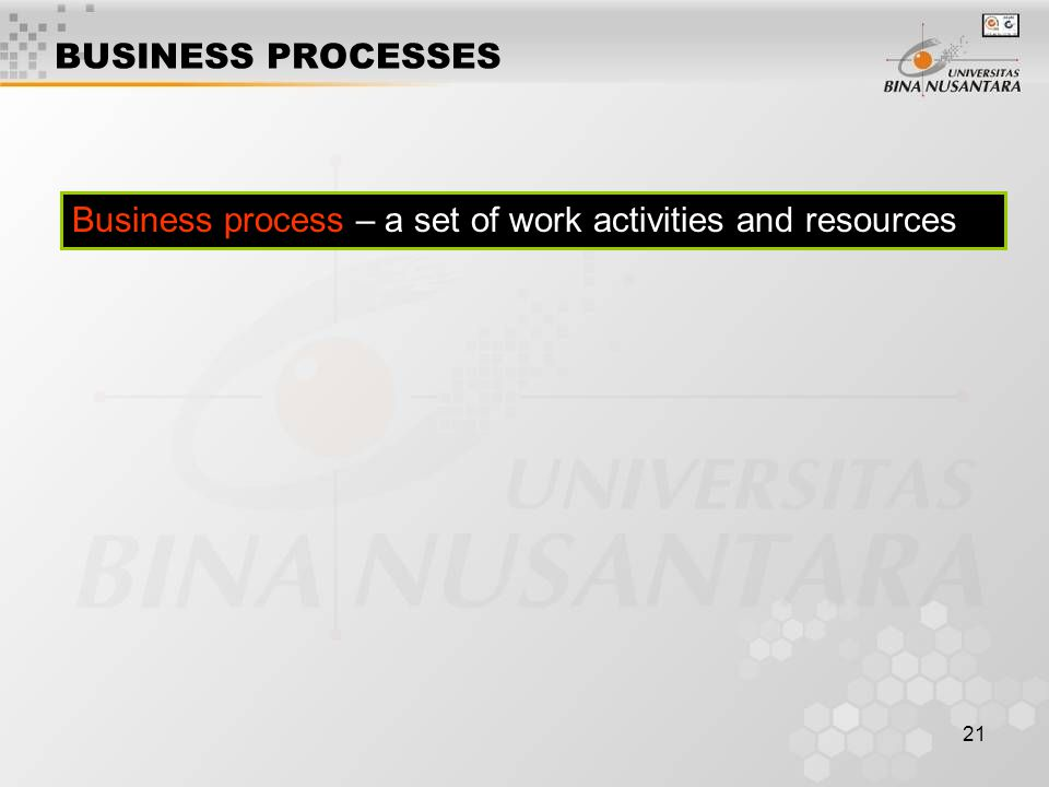 21 Business process – a set of work activities and resources BUSINESS PROCESSES