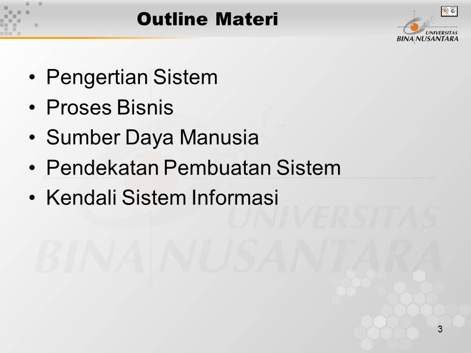 3 Outline Materi Pengertian Sistem Proses Bisnis Sumber Daya Manusia Pendekatan Pembuatan Sistem Kendali Sistem Informasi