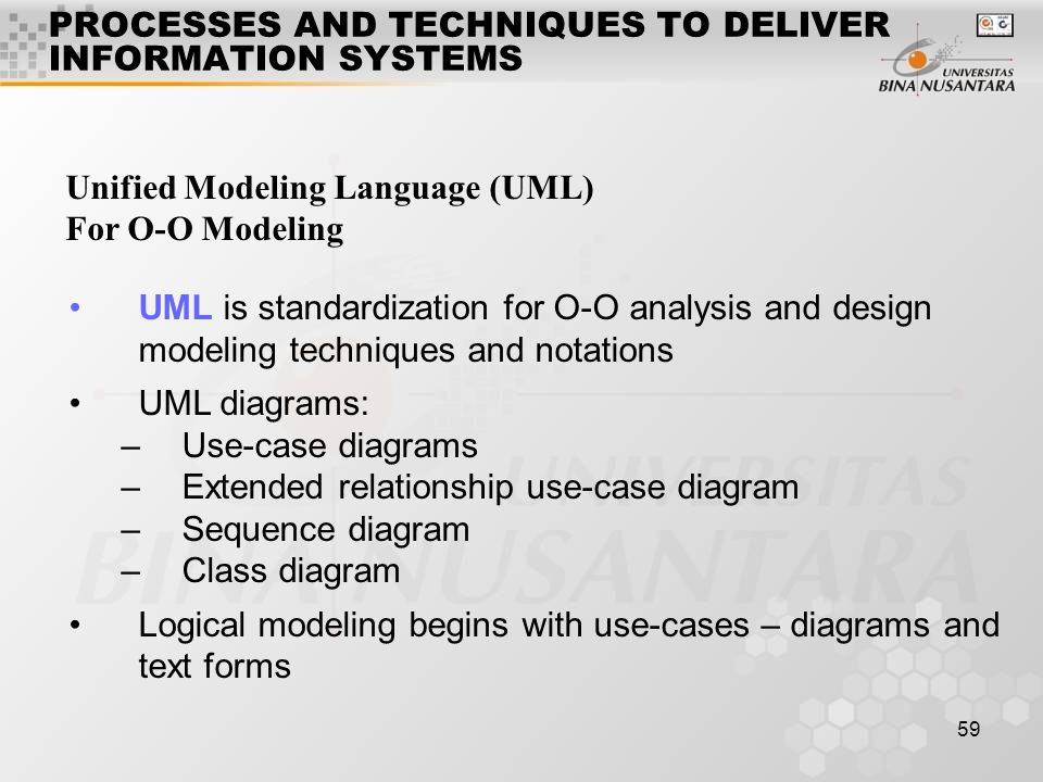 59 Unified Modeling Language (UML) For O-O Modeling PROCESSES AND TECHNIQUES TO DELIVER INFORMATION SYSTEMS UML is standardization for O-O analysis an