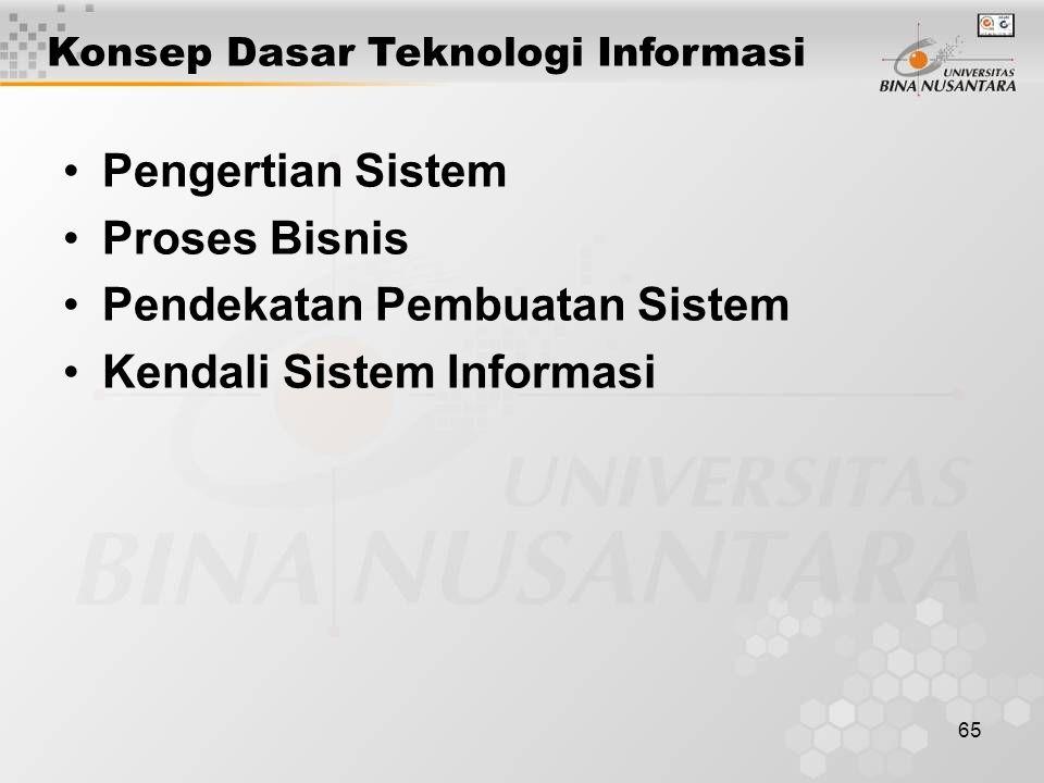 65 Pengertian Sistem Proses Bisnis Pendekatan Pembuatan Sistem Kendali Sistem Informasi Konsep Dasar Teknologi Informasi