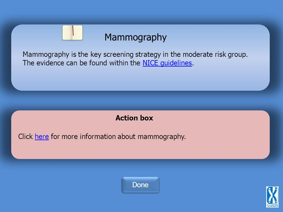 Mammography is the key screening strategy in the moderate risk group.