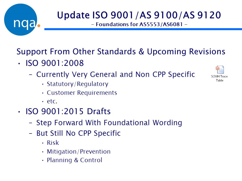 Update ISO 9001/AS 9100/AS 9120 - Foundations for AS5553/AS6081 - Support From Other Standards & Upcoming Revisions ISO 9001:2008 –Currently Very Gene
