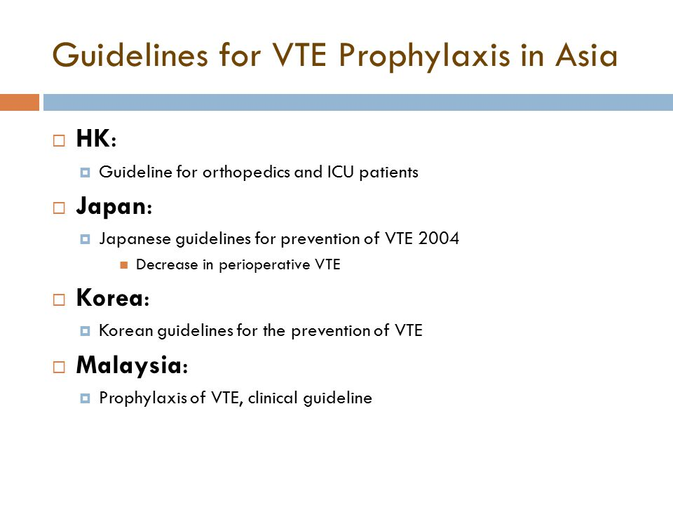 Guidelines for VTE Prophylaxis in Asia  HK:  Guideline for orthopedics and ICU patients  Japan:  Japanese guidelines for prevention of VTE 2004 Decrease in perioperative VTE  Korea:  Korean guidelines for the prevention of VTE  Malaysia:  Prophylaxis of VTE, clinical guideline