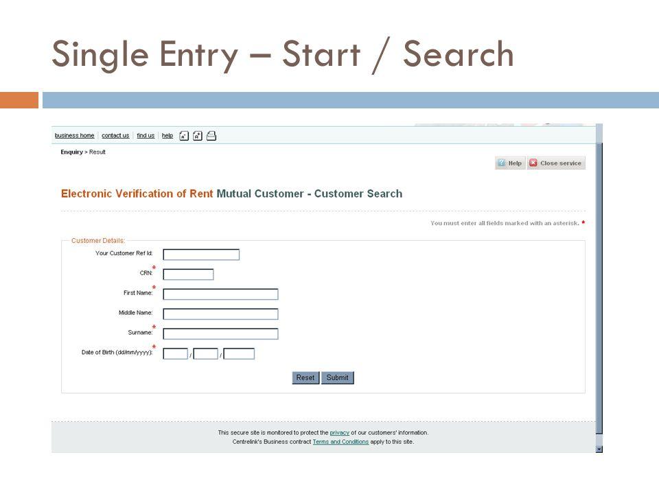 Single Entry – Start / Search