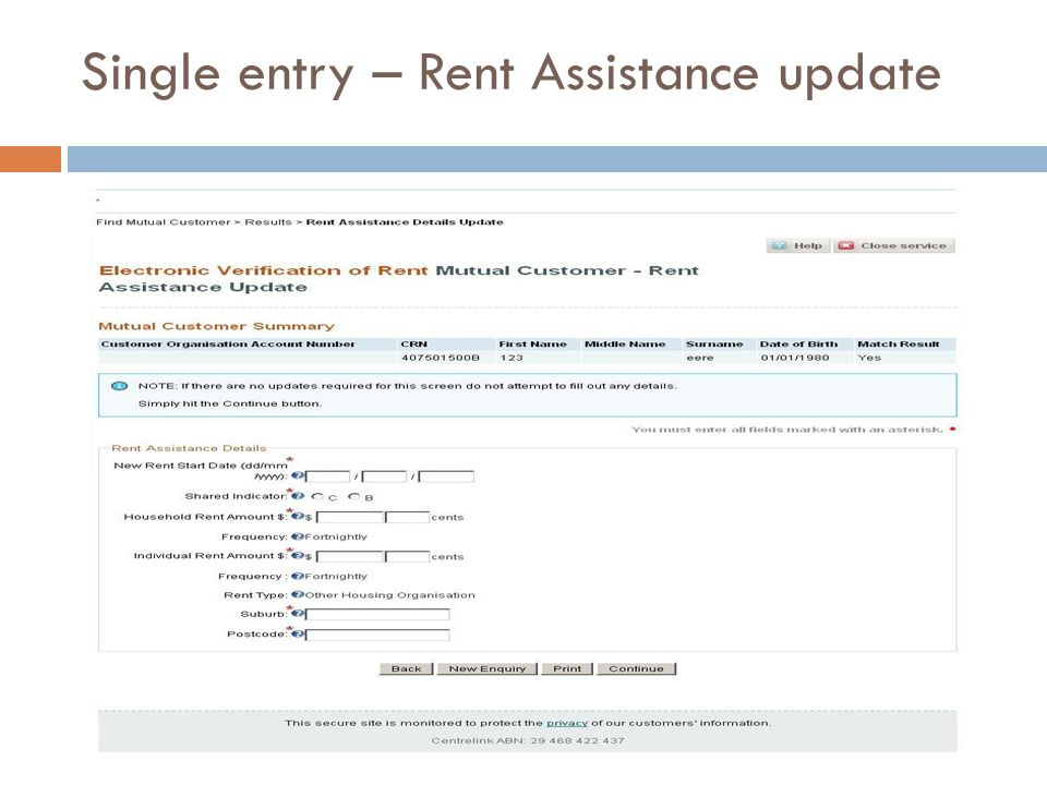 Single entry – Rent Assistance update