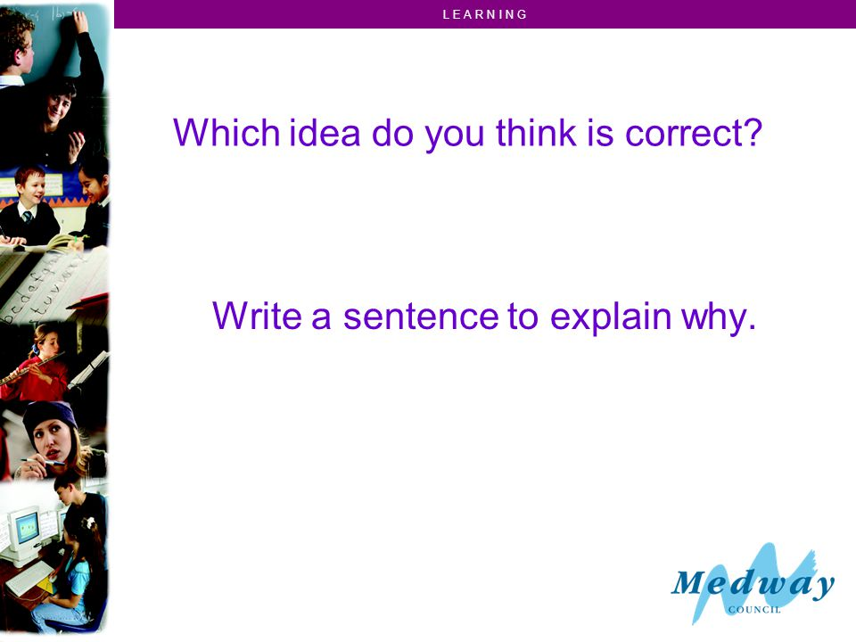 L E A R N I N G Which idea do you think is correct Write a sentence to explain why.