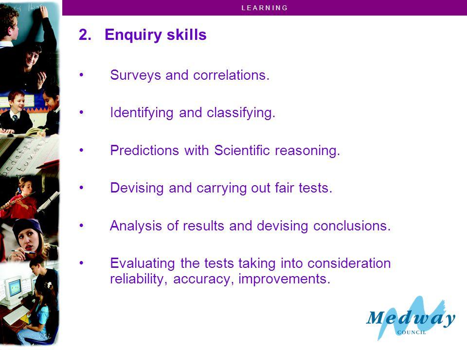 L E A R N I N G Why teach Ideas and Evidence / Enquiry skills.