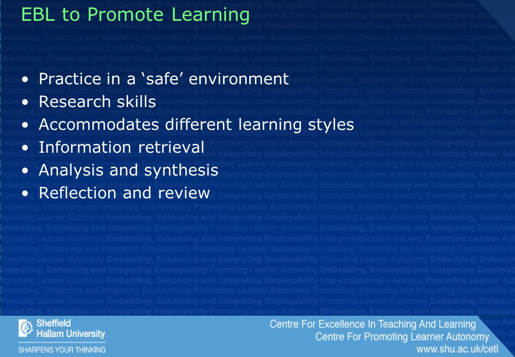 EBL to Promote Learning Practice in a 'safe' environment Research skills Accommodates different learning styles Information retrieval Analysis and synthesis Reflection and review