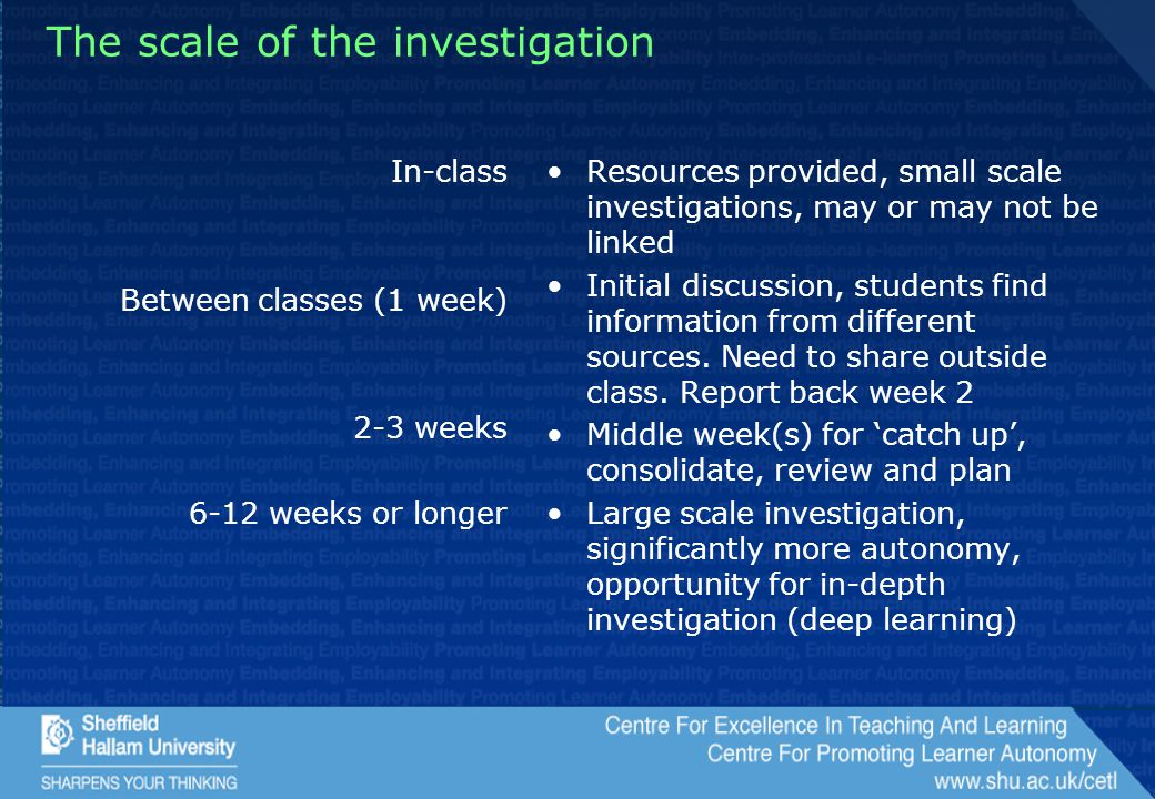 The scale of the investigation In-class Between classes (1 week) 2-3 weeks 6-12 weeks or longer Resources provided, small scale investigations, may or may not be linked Initial discussion, students find information from different sources.