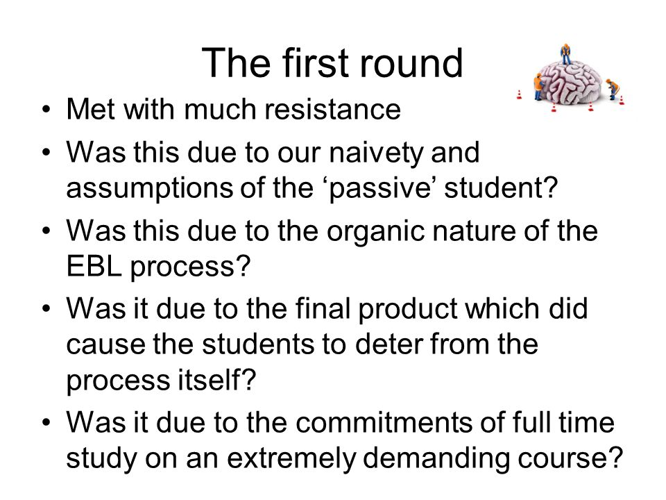 The first round Met with much resistance Was this due to our naivety and assumptions of the 'passive' student.