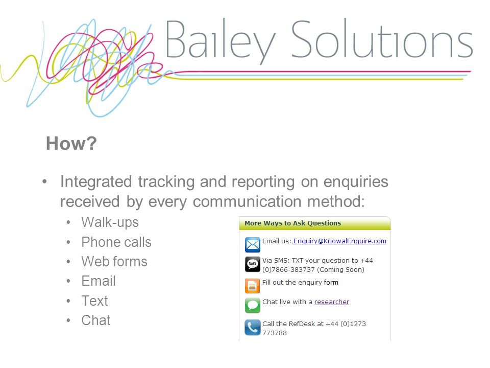 How? Integrated tracking and reporting on enquiries received by every communication method: Walk-ups Phone calls Web forms Email Text Chat