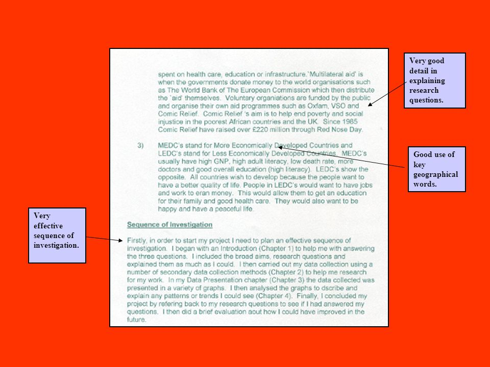 Chapter 1 Introduction and Aims Well- structured using sub- headings Evidence of high level of structure and detailed logical thought in explaining the research questions.