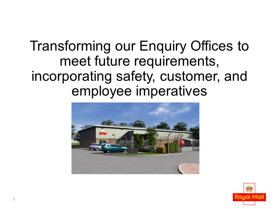 1 Transforming our Enquiry Offices to meet future requirements, incorporating safety, customer, and employee imperatives