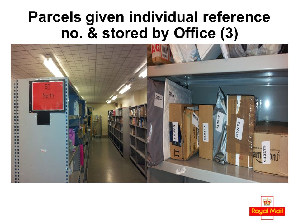 Parcels given individual reference no. & stored by Office (3)