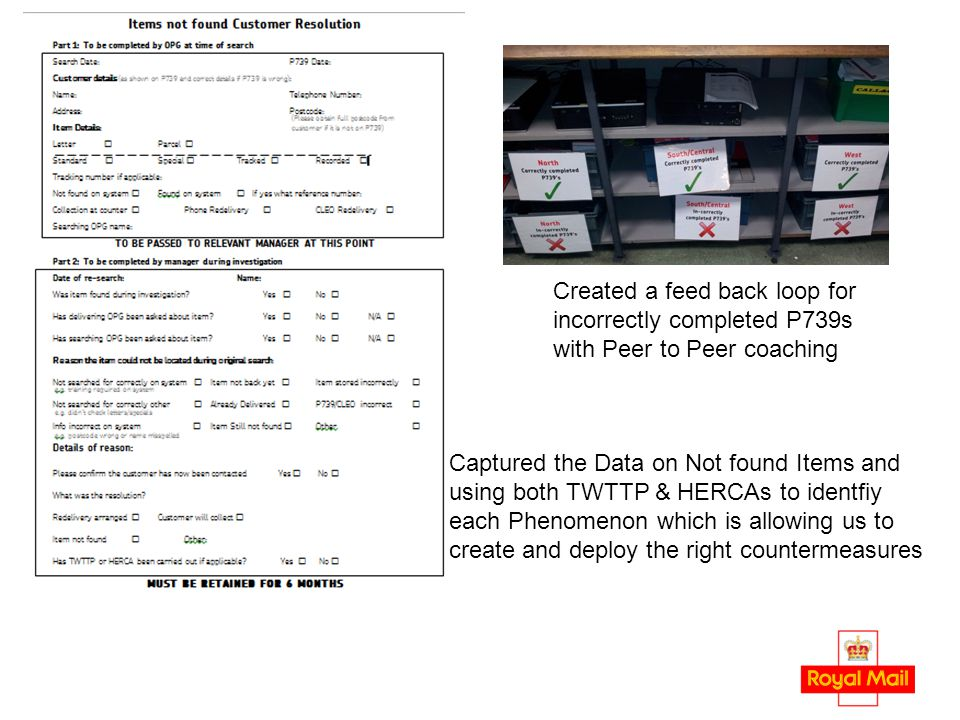 Created a feed back loop for incorrectly completed P739s with Peer to Peer coaching Captured the Data on Not found Items and using both TWTTP & HERCAs to identfiy each Phenomenon which is allowing us to create and deploy the right countermeasures