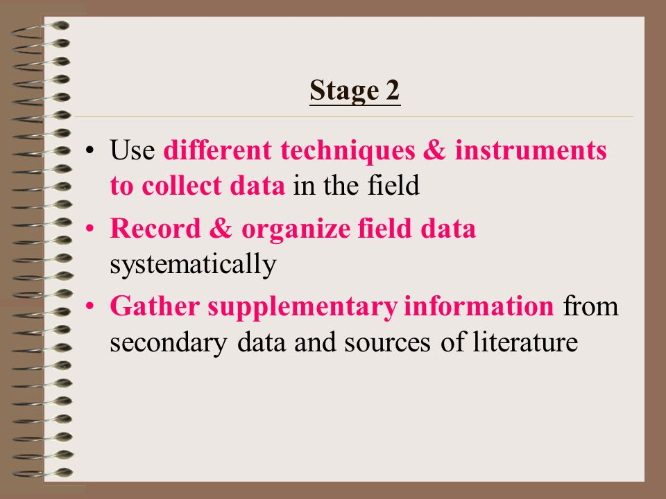 Stage 1 Identify a geographical issue, problem, phenomenon and/or form hypothesis Clarify the objectives of the enquiry Identify the type of informati