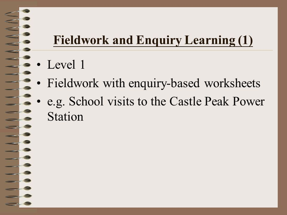 1.Field excursion 2.Field research based on hypothesis testing 3.Geographical enquiry 4.Discovery learning 5.Sensory fieldwork Teachers Students