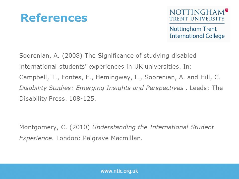 Soorenian, A. (2008) The Significance of studying disabled international students' experiences in UK universities. In: Campbell, T., Fontes, F., Hemin