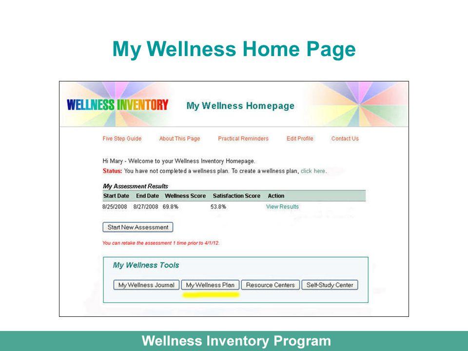 My Wellness Home Page