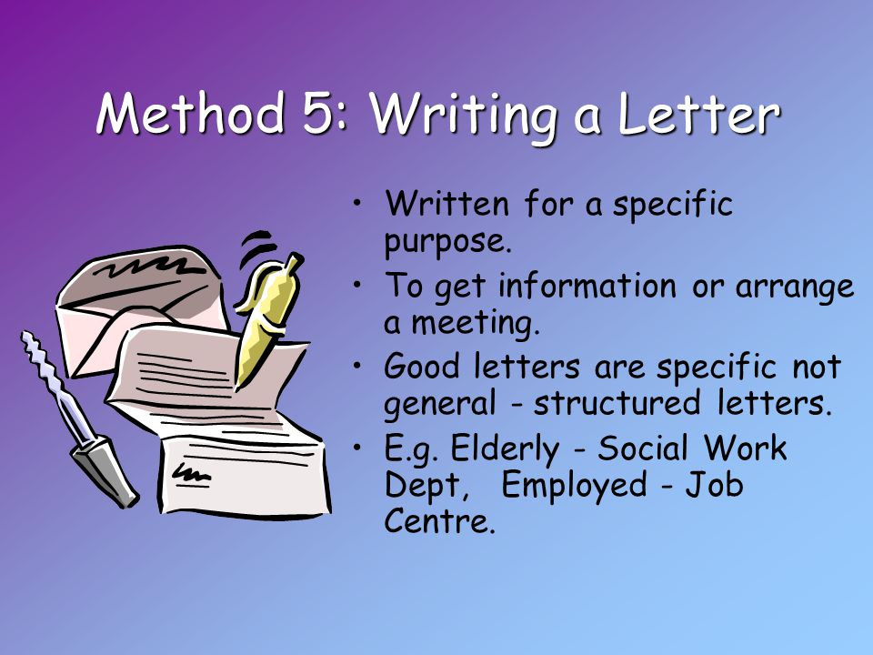 Method 5: Writing a Letter Written for a specific purpose.