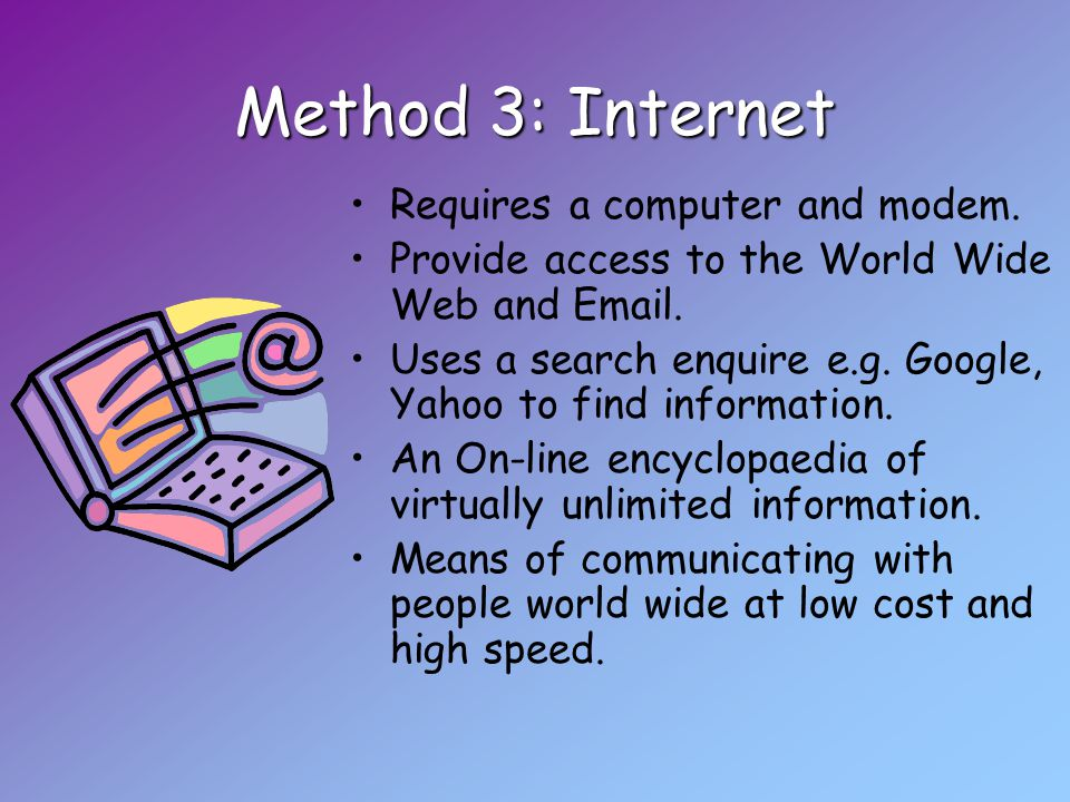 Method 3: Internet Requires a computer and modem.Provide access to the World Wide Web and Email.