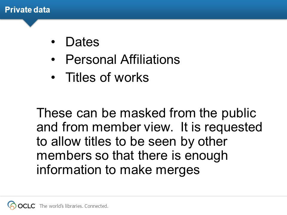 The world's libraries. Connected. Private data Dates Personal Affiliations Titles of works These can be masked from the public and from member view. I