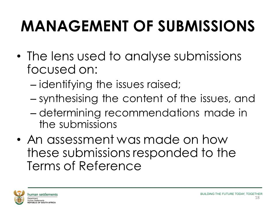 MANAGEMENT OF SUBMISSIONS The lens used to analyse submissions focused on: – identifying the issues raised; – synthesising the content of the issues, and – determining recommendations made in the submissions An assessment was made on how these submissions responded to the Terms of Reference 18