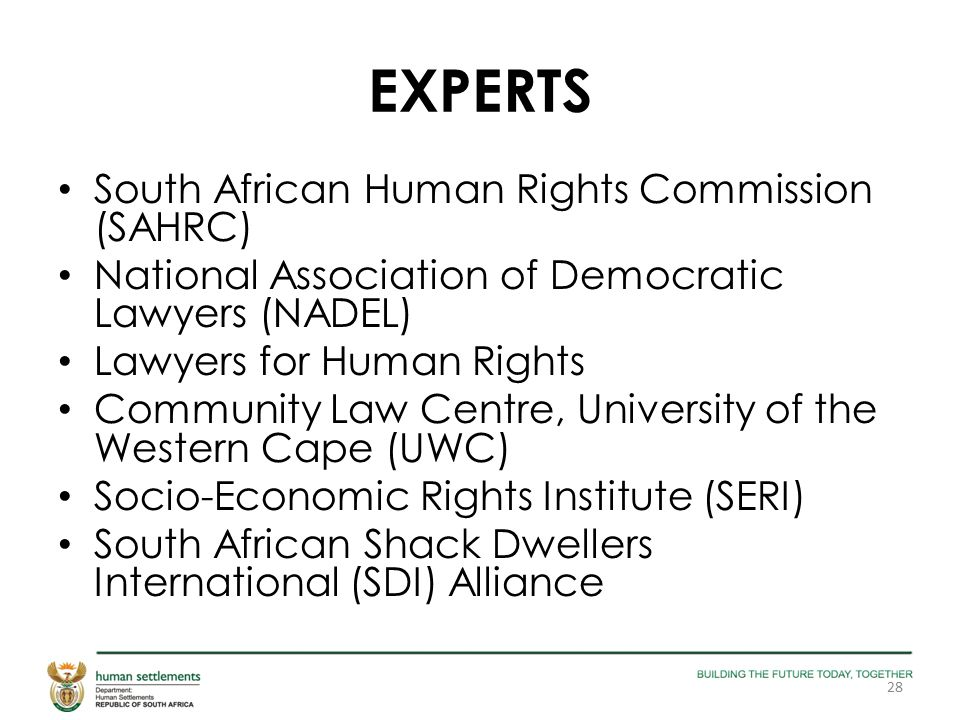 EXPERTS South African Human Rights Commission (SAHRC) National Association of Democratic Lawyers (NADEL) Lawyers for Human Rights Community Law Centre, University of the Western Cape (UWC) Socio-Economic Rights Institute (SERI) South African Shack Dwellers International (SDI) Alliance 28
