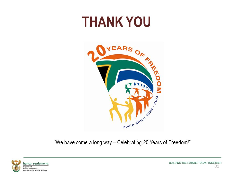 THANK YOU We have come a long way – Celebrating 20 Years of Freedom! 32