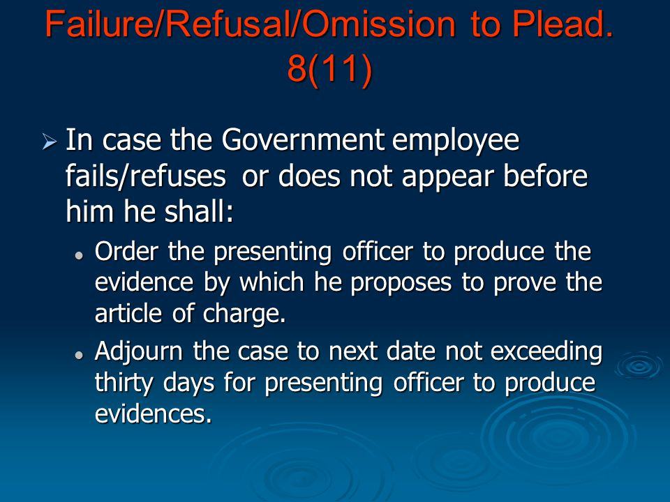 Record and order that Government Employee may for preparing his defence: Record and order that Government Employee may for preparing his defence: (a)Inspect within five days of the order or within such further time which should not exceed five days, as the enquiry officer may allow, the following documents: i) The substance of imputations of misconduct or misbehaviour in to definite and distinct articles of charge ii) Statement of imputations of misconduct or misbehaviour in support of each article of charge which shall contain 1.A statement of all relevant facts including any admission or confession made by the Government employee.