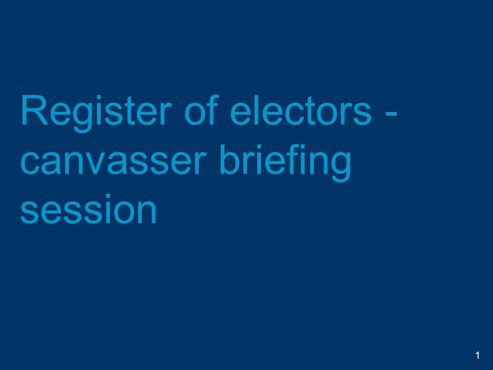 Collecting personal data on the doorstep Always wear and show your official identification to the elector Be aware of other people around you and take precautions so that nobody else can overhear any personal information you are collecting 42
